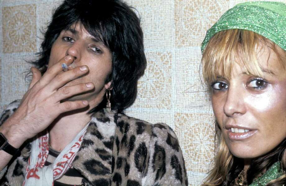 Rolling Stones guitarist Keith Richards with Italian-born German actress Anita Pallenberg at the Kilburn State Gaumont Theatre, London for one of the final concerts by the Faces, 23rd December 1974. Photo: Graham Wiltshire, Getty Images / 2005 Getty Images