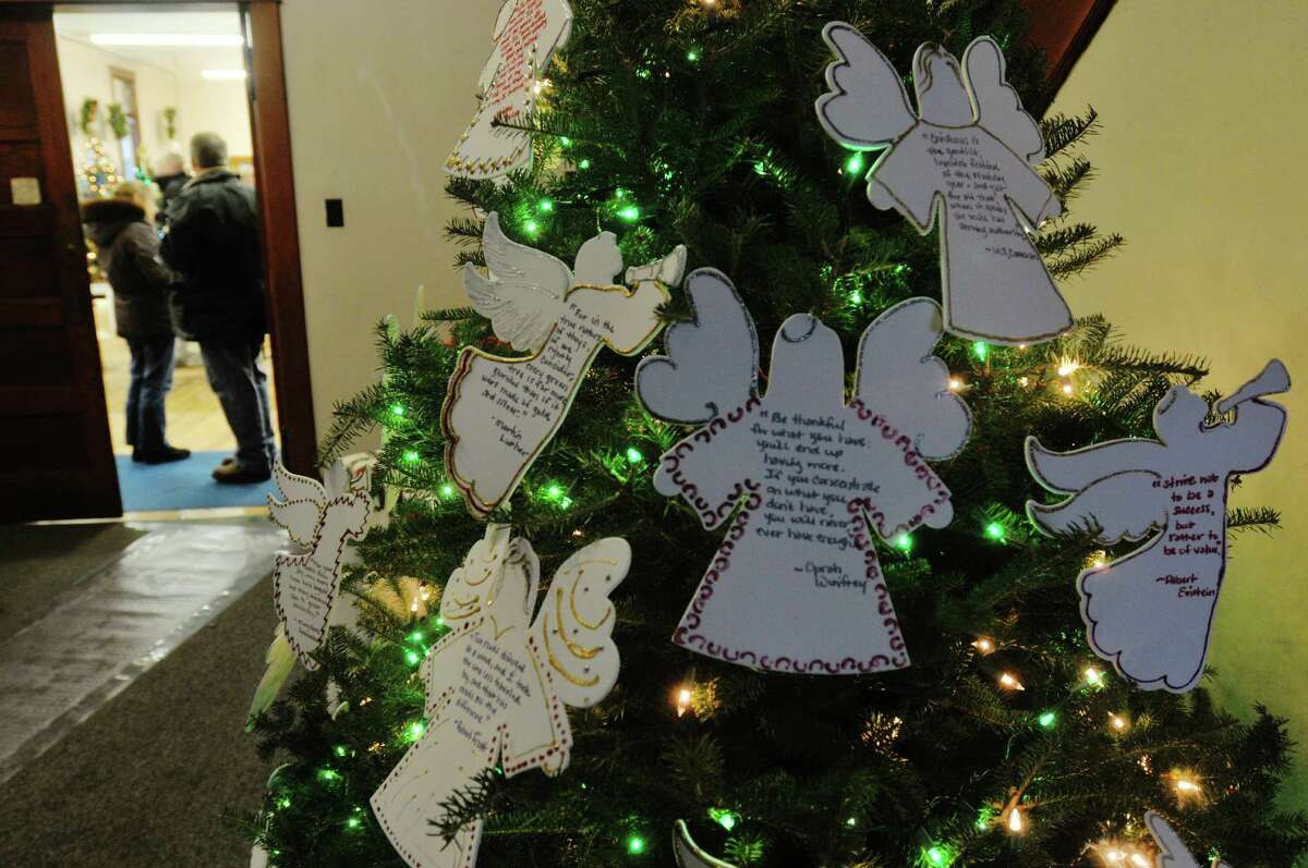 A view of one of the decorated Christmas trees on display at the Masonic Hall during the Festival of Trees and Wreath Auction at the Altamont Victorian Holiday Celebration on Sunday, Dec. 15, 2013 in Altamont, NY. (Paul Buckowski / Times Union)