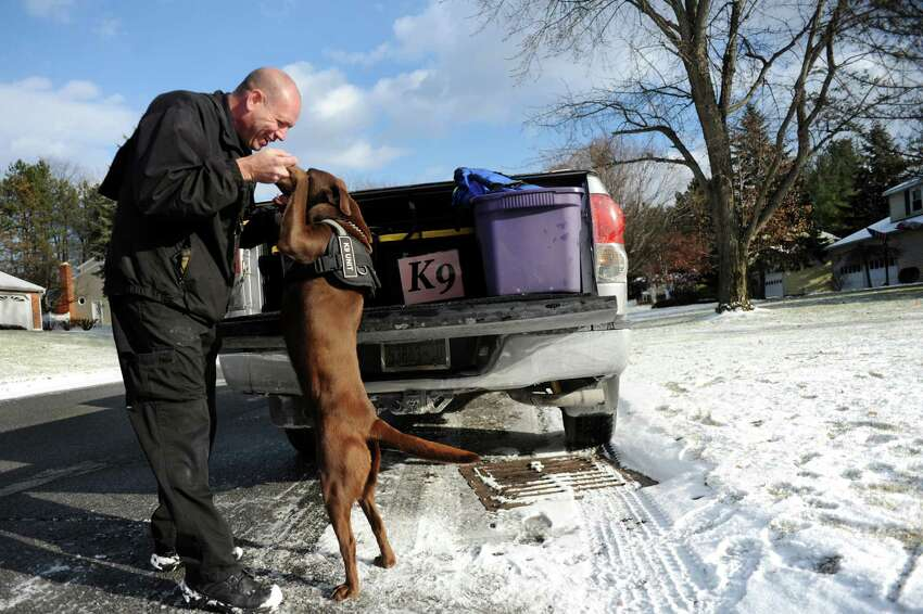 David Harrington of Specialized K9 Detection Service pumps up his Labrador retriever Stone as they prepare to search a home for drugs on Wednesday, Dec. 11, 2013, in Colonie, N.Y. (Cindy Schultz / Times Union)