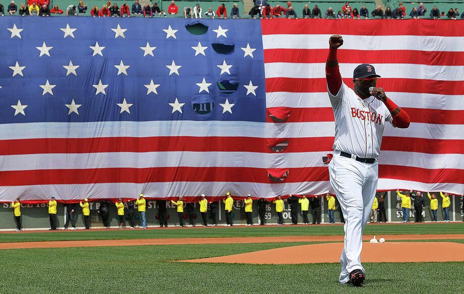 Boston Red Sox player David Ortiz, remarks to Fenway Park crowd after memorial service for Boston Marathon bombing victims, Apr. 20, 2013PHOTO: Ortiz speaks during a pre-game ceremony in honor of the bombings of Marathon Monday before a game at Fenway Park on April 20, 2013, in Boston. Photo: Jim Rogash, Getty Images / 2013 Getty Images