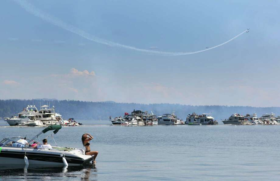 August 4, 2013— The Patriots jet team performs over the log boom during the final day of Seafair 2013 on Lake Washington. Photo: JOSHUA TRUJILLO, SEATTLEPI.COM / SEATTLEPI.COM