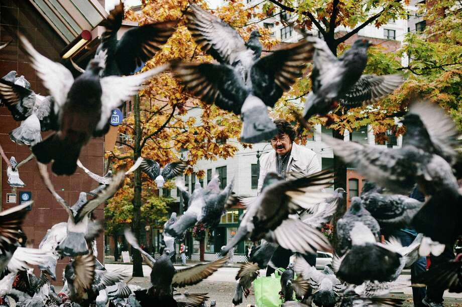 "October 11, 2013 — A man simply known as ""Lee"" is engulfed by pigeons taking flight outside of the King County Courthouse in Seattle. Photo: JORDAN STEAD, SEATTLEPI.COM / SEATTLEPI.COM"
