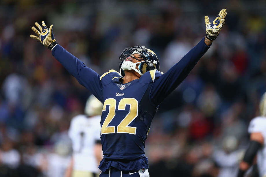 Trumaine Johnson #22 of the St. Louis Rams celebrates after the New Orleans Saints missed a field goal in the final minutes of the game at the Edward Jones Dome on December 15, 2013 in St. Louis, Missouri.  The Rams beat the Saints 27-16. Photo: Dilip Vishwanat, Getty Images / 2013 Getty Images