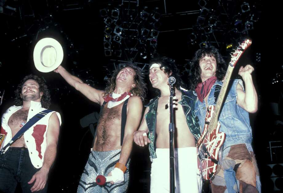 "Van Halen members (from left) Michael Anthony, David Lee Roth, Alex Van Halen and Eddie Van Halen released their best-selling album ever with the singles ""Jump,"" ""Panama,"" and ""I'll Wait,"" riding the charts and the music video ""Hot for Teacher,"" burning up TV sets. Photo: Ron Galella, Getty Images / Ron Galella Collection"