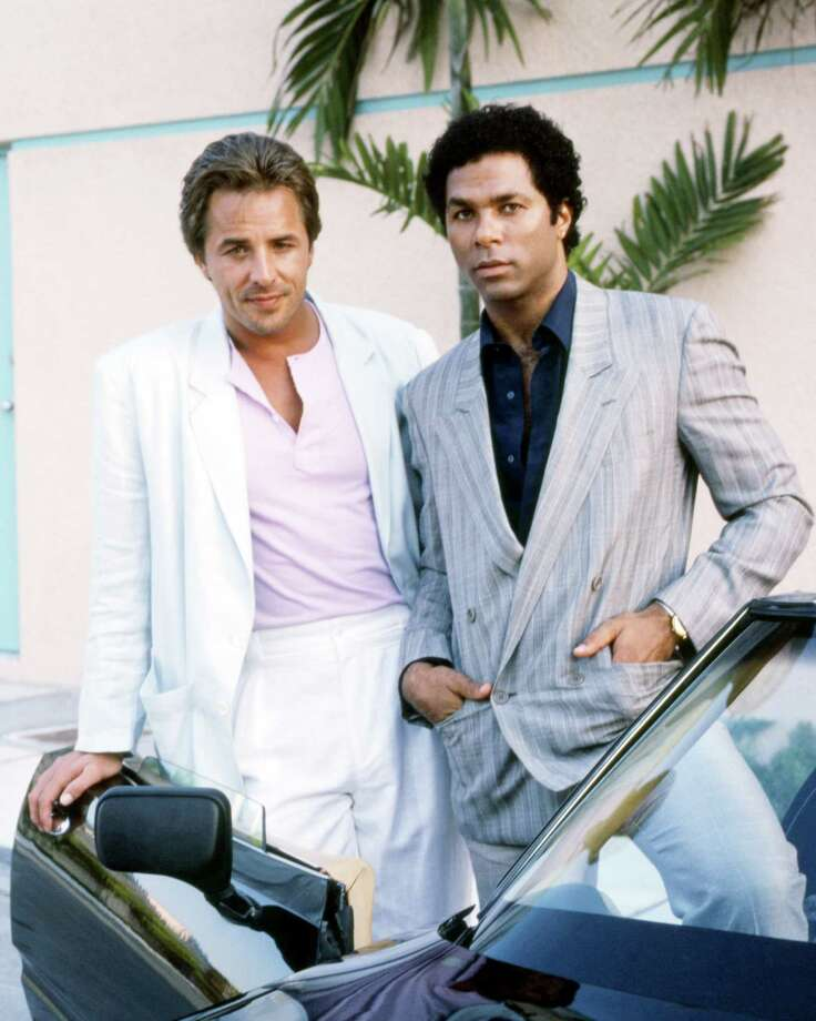 "Actors Don Johnson and Philip Michael Thomas, as detectives James ""Sonny"" Crockett and Ricardo Tubbs, are seen in a promotional portrait for the TV series ""Miami Vice,"" circa 1985. Photo: Silver Screen Collection, Getty Images / 2013 Getty Images"