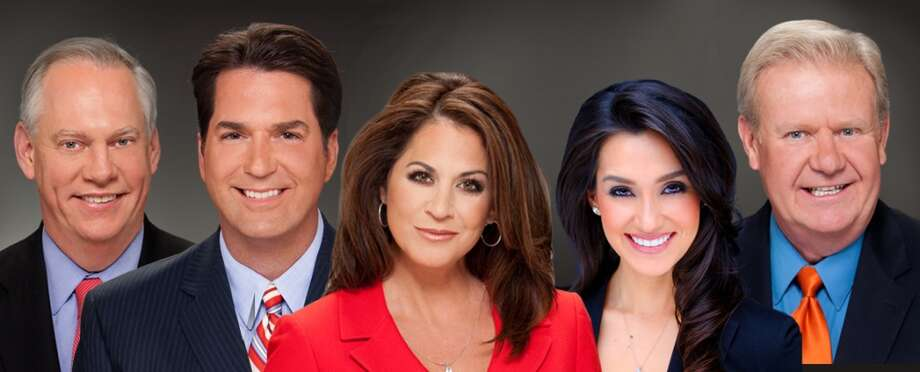 The evening news players assembled by Jim Boyle: Sportscaster Greg Simmons, anchors Steve Spriester, Ursula Pari, Isis Romero and weatherman Steve Browne. Photo: KSAT