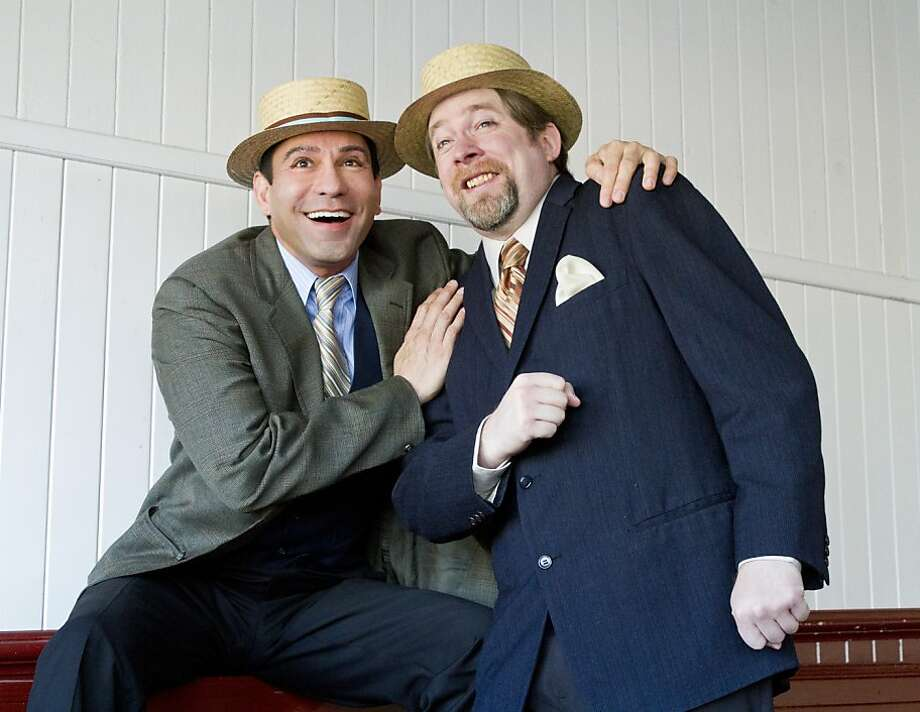 "Rudy Guerrero (left) and Bill Fahrner star as the Mizner brothers in Theatre Rhinoceros' production of Stephen Sondheim's ""Road Show,"" opening Thursday at the Eureka Theatre. Photo: Kent Taylor"
