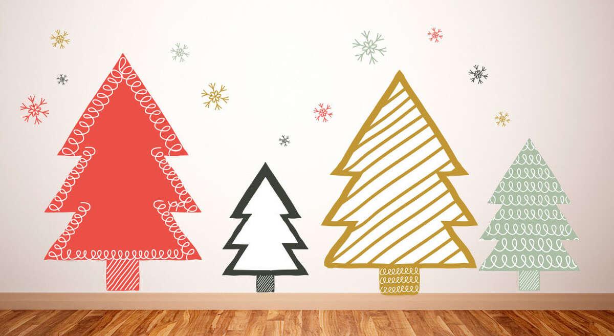 Hand Drawn Christmas Trees - Christmas Wall Decal - Removable Wall Decal