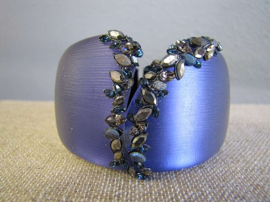 Lucite, lapis, pryrite and crystal hinged bracelet, Alexis Bittar, $395 Photo: Cat5