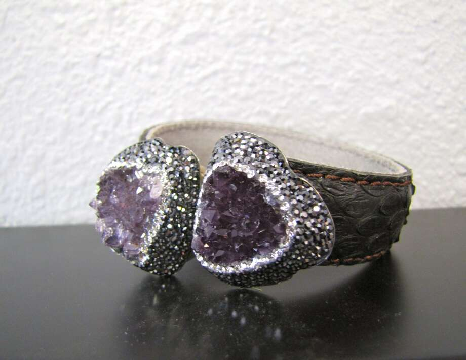 Druzy amethyst, crystal and snakeskin hinged bracelet, $229 Photo: Cat5