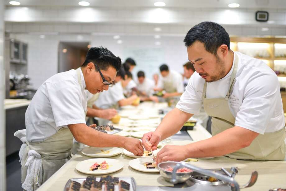 David Chang (right), plating. Photo: Bonjwing Lee Photography