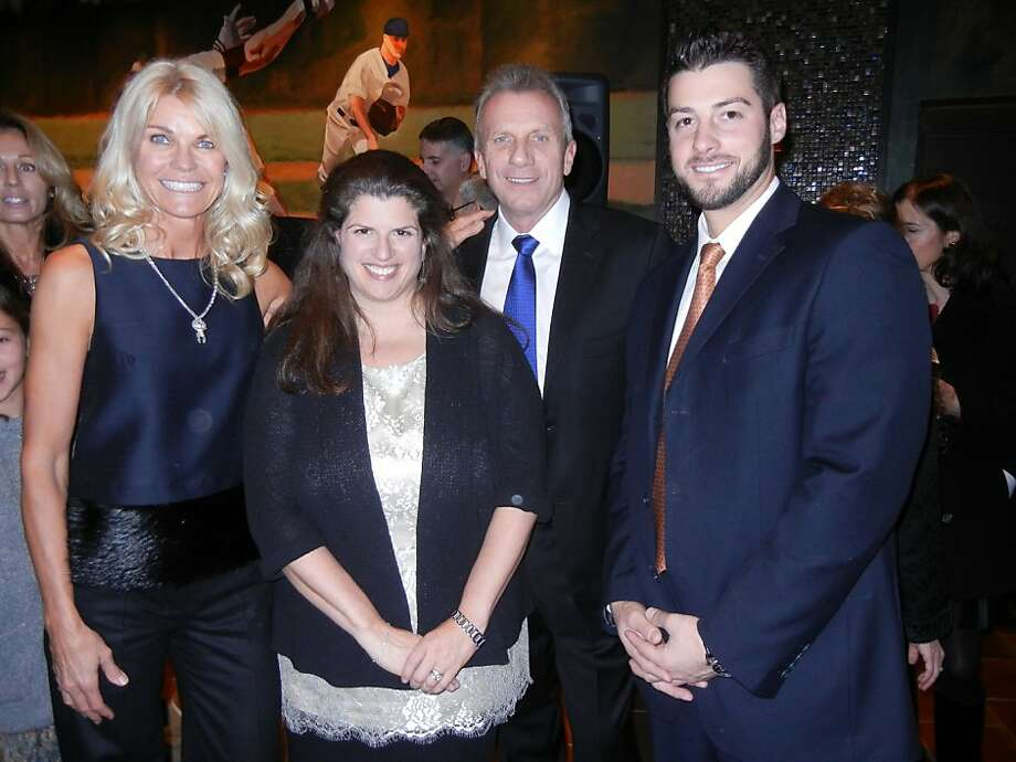 Jennifer Montana (left) with Amy Wender-Hoch, Joe Montana and S.F. Giants' George Kontos. Photo: Catherine Bigelow, Special To The Chronicle