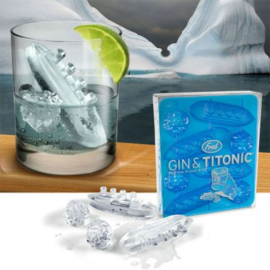 No. 7: Gin and Titonic ice cube tray (Archie McPhee). Truthfully, we love being able to watch Titanic-shaped ice nose down in a glass, but you wouldn't want one of these in your carry-on going through customs in Belfast, where they're pretty proud of having built one of history's most memorable failures. http://mcphee.com/shop/gin-and-titonic-ice-cube-tray.html Photo: Archie McPhee
