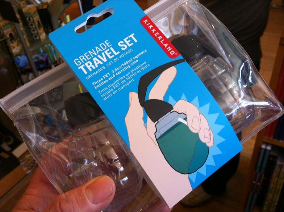 No. 1: Grenade Travel Set containers (Kikkerland). Regulation size bottles for liquids that are (wait for it) shaped like hand grenades.  Generally harmless fun -- except that as of September, TSA agents had found more than 80 actual hand grenades in carry-on and checked luggage so far in 2013. We don't know what happened to those people, but it's a safe bet they missed their flights. A clear winner as Worst Travel Gift ever. (No longer available through maker Kikkerland, but still available at Amazon.com: http://www.amazon.com/Kikkerlandgrenade-Travel-Squeeze-Bottles-Carrying/dp/B00C2DUOIG Photo: Spud Hilton, Bad Latitude