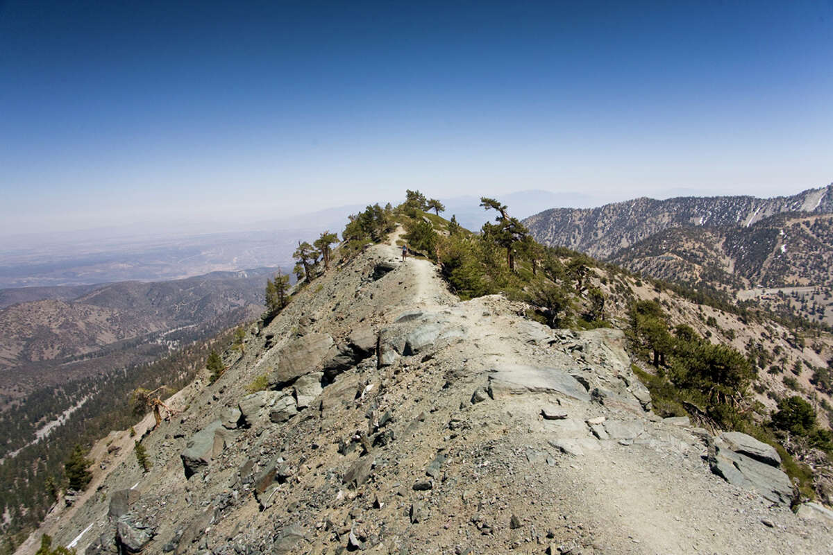 Commonly known as Mount Baldy, the point in the San Gabriel Mountains is the highest point in Los Angeles County.