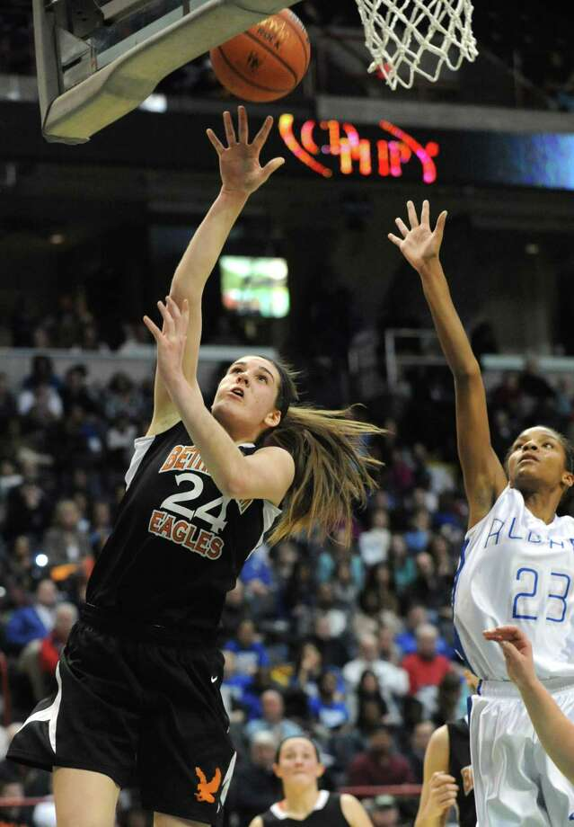 Bethlehem's Gabby Giacone makes a layup during the Class AA girls' championship basketball game against Albany at the Times Union Center on Monday March 4, 2013 in Albany, N.Y.  (Lori Van Buren / Times Union) Photo: Lori Van Buren / 10021399A