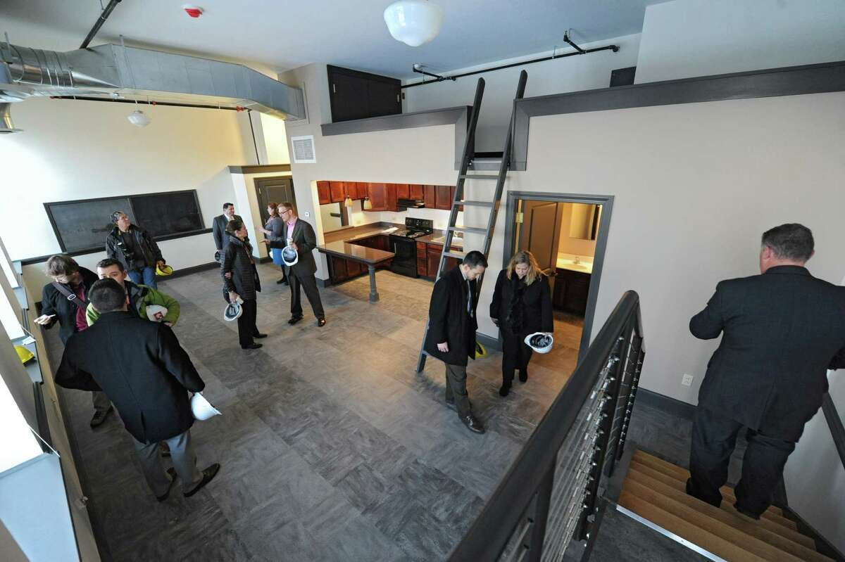 View of an apartment during a guided tour of the new OThe Barn/Academy Lofts,O formerly St. JosephOs Academy, located in Arbor Hill on Monday, Dec. 16, 2013 in Albany, N.Y. The tour of this artist space was hosted by State Farm and Albany Barn. (Lori Van Buren / Times Union)