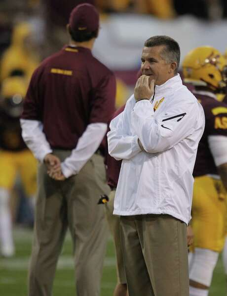 Texas AD Steve Patterson hired Arizona State coach Todd Graham, above, but Patterson can't woo him. Photo: Rick Scuteri, FRE / FR157181 AP