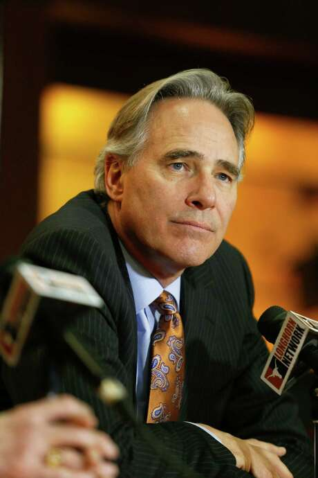 University of Texas athletic director Steve Patterson discusses the search for a new head football coach in Austin, Texas on Sunday, Dec. 15, 2013. Current coach Mack Brown announced he was stepping down from the position following the Valero Alamo Bowl on Dec. 30. (AP Photo/Jack Plunkett) Photo: Jack Plunkett, FRE / FR59553 AP