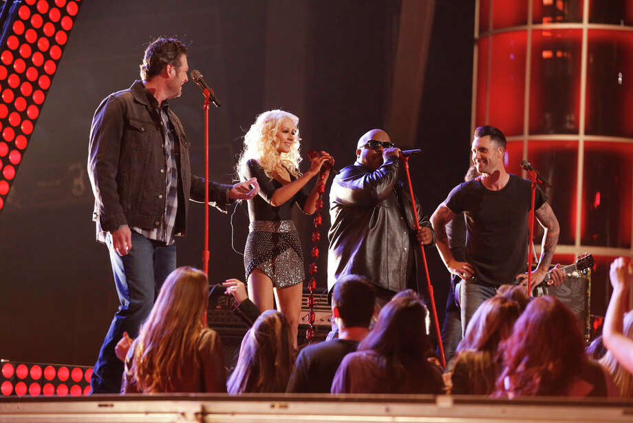 "THE VOICE -- ""Live Show"" Episode 519A -- Pictured: (l-r) Blake Shelton, Christina Aguilera, CeeLo Green, Adam Levine -- (Photo by: Trae Patton/NBC) Photo: NBC, Trae Patton/NBC / 2013 NBCUniversal Media, LLC"