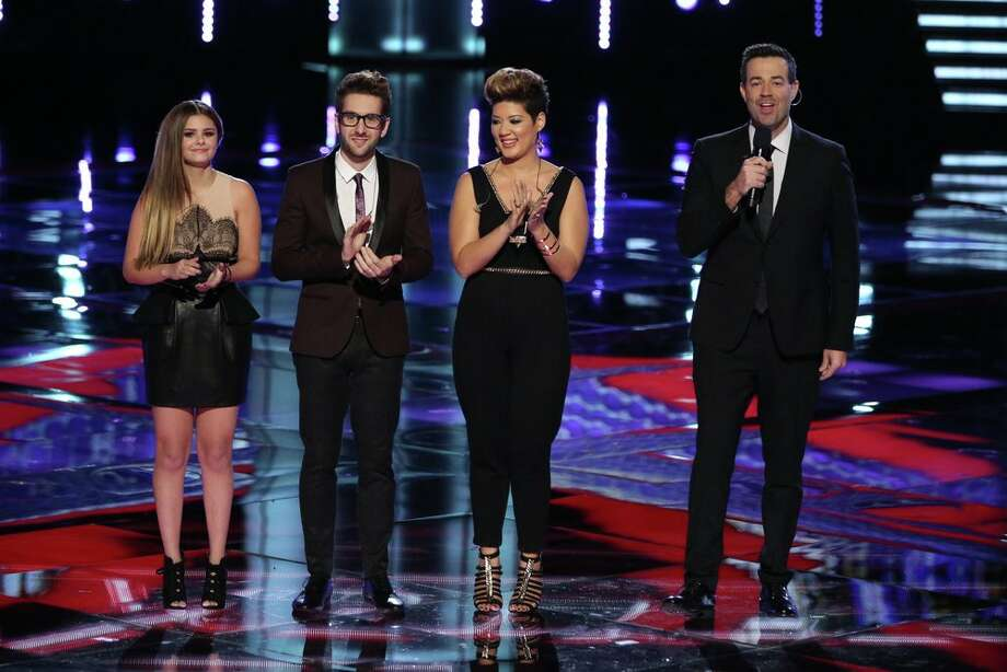 "THE VOICE -- ""Live Show"" Episode 519A -- Pictured: (l-r) Jacquie Lee, Will Champlin, Tessanne Chin, Carson Daly -- (Photo by: Tyler Golden/NBC) Photo: NBC, Tyler Golden/NBC / 2013 NBCUniversal Media, LLC"