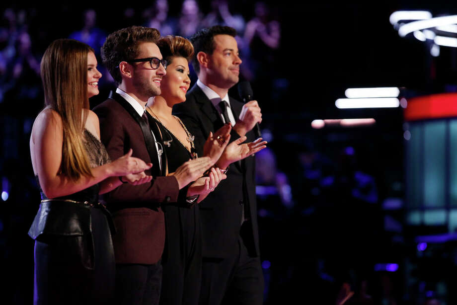 "THE VOICE -- ""Live Show"" Episode 519A -- Pictured: (l-r) Jacquie Lee, Will Champlin, Tessanne Chin, Carson Daly -- (Photo by: Trae Patton/NBC) Photo: NBC, Trae Patton/NBC / 2013 NBCUniversal Media, LLC"