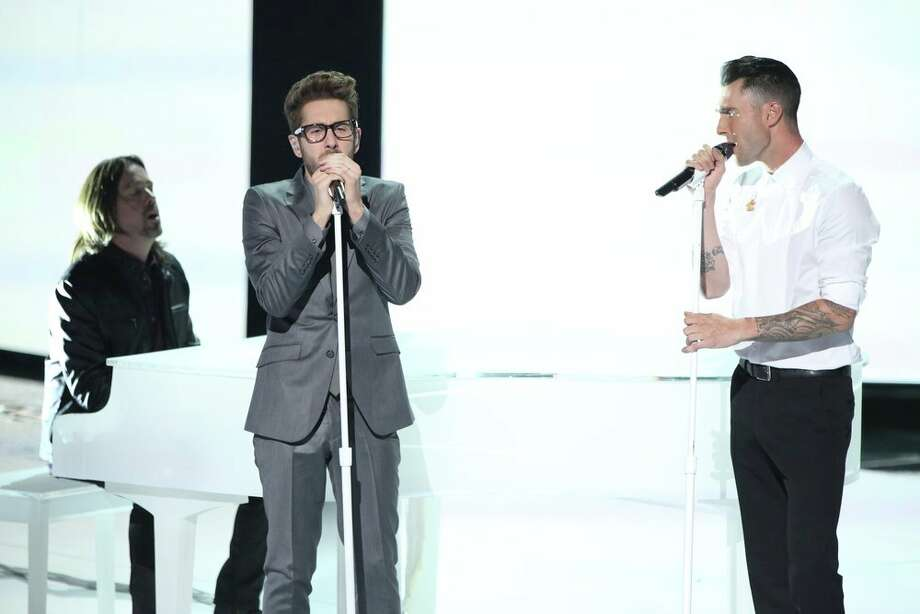 "THE VOICE -- ""Live Show"" Episode 519A -- Pictured: (l-r) Will Champlin, Adam Levine -- (Photo by: Tyler Golden/NBC) Photo: NBC, Tyler Golden/NBC / 2013 NBCUniversal Media, LLC"