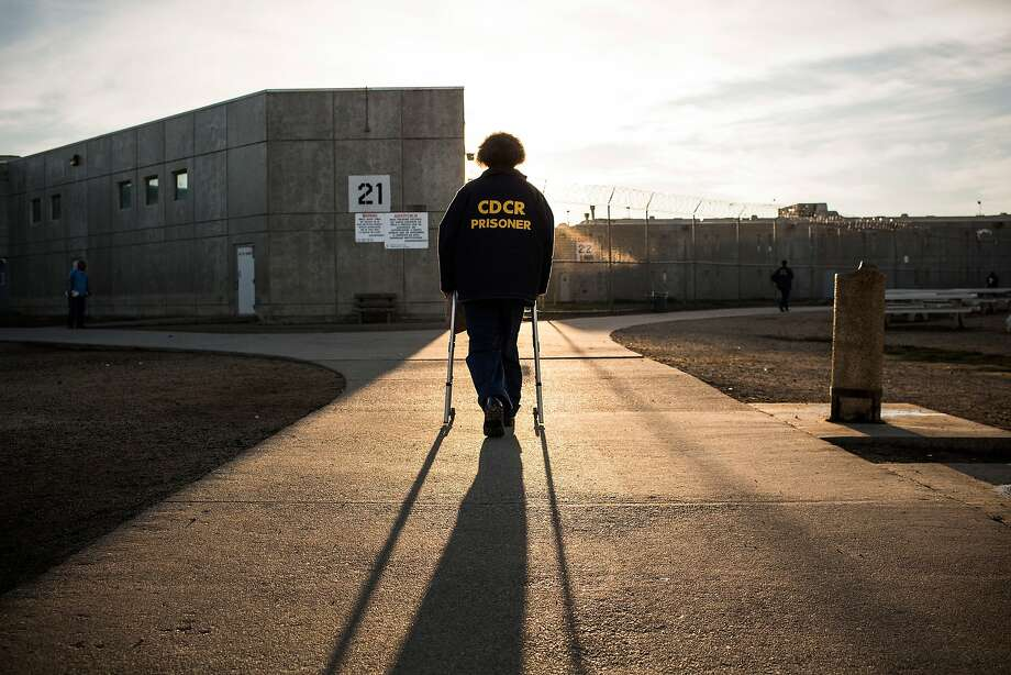 "VACAVILLE, CA - DECEMBER 16: (Editorial Use Only) George Whitfield, age 56, uses a walker to walk back to his cell block at California State Prison, Solano, on December 16, 2013 in Vacaville, California. This is Whitfield's fourth time in prison - his current sentence is six years. He was sentenced for possession of narcotics with intent to sell and an illegal firearm. Whitfield denies the charges, saying police searched his house without presenting a warrant and only found marijuana that he used personally and a firearm he kept in his home. His previous three sentences, dating back to 1989, were allegedly for possession of marijuana, which he says he has only used recreationally. According to Whitfield, he suffered a stroke in 2007, which now forces him to use a walker. He also suffers from high blood pressure and has recently experienced numbness in his left arm. While Whitfield believes the prison officials at Solano are ""fair, they're only doing their job,"" he also laments, ""they should have sent me to rehab...they're not trying to save my life, they're trying to ruin it."" He continued, ""I believe in second chances, I would love to see [some of my fellow inmates] go home - they don't belong in here. This is overkill....we're still human."" As of June 2013,  the state of California had 133,000 prisoners, of which approximately 15,000 were over the age of 55. According to a 2012 Human Rights Watch Report, ""incarcerated men and women typically have physiological and mental health conditions that are associated with people at least a decade older in the community. The U.S. incarcerates more people than any other country, with the number of inmates increasing 42 percent between 1995 and 2010, according to Human Rights Watch, and the number of prisoners 55-and-older skyrocketing by 282 percent. The increases are blamed on the 'tough on crime' and the 'war on drugs' policies enacted in the 1970s through the 1990s. (Photo by Andrew Burton/Getty Images) ** Photo: Andrew Burton, Getty Images"