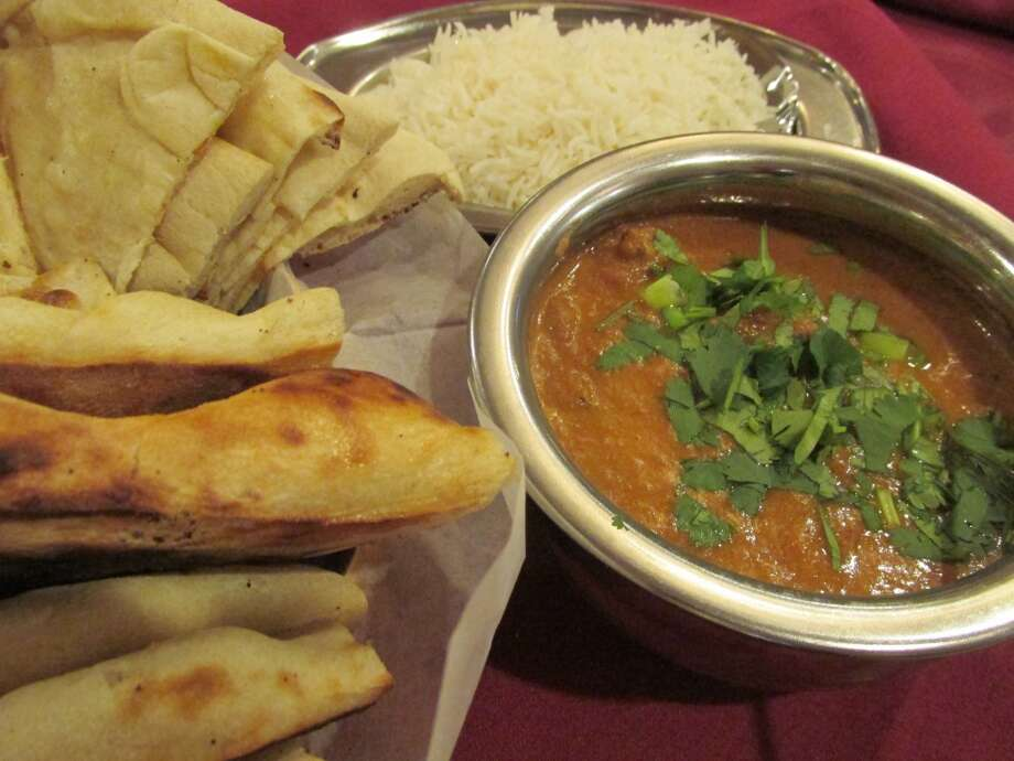 Lamb curry with naan at Taz Indian Cuisine. Photo: Cat5