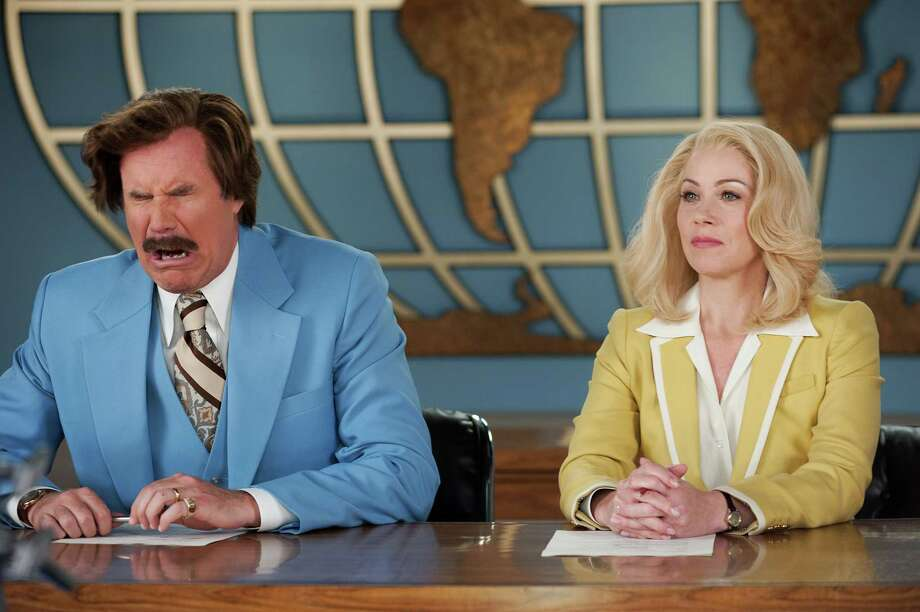 "Will Ferrell returns as newsman Ron Burgundy and Christina Applegate reprises her role as Veronica Corningstone in ""Anchorman 2: The Legend Continues."" Photo: Gemma LaMana, HOEP / Paramount Pictures"
