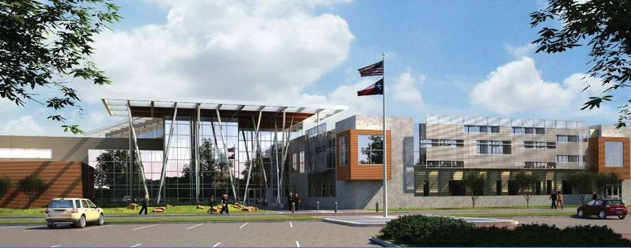 This is an architect's rendering of the planned Career and Technology High School in the Pasadena Independent School District.  This is an architect's rendering of the planned Career and Technology High School in the Pasadena Independent School District.