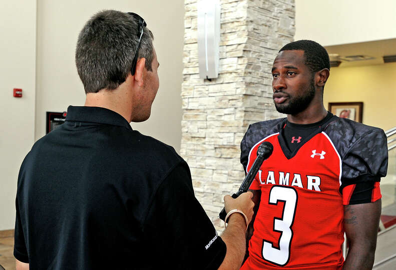 Lamar wide receiver Barry Ford is interviewed at the Lamar University Football Media Day on August 1