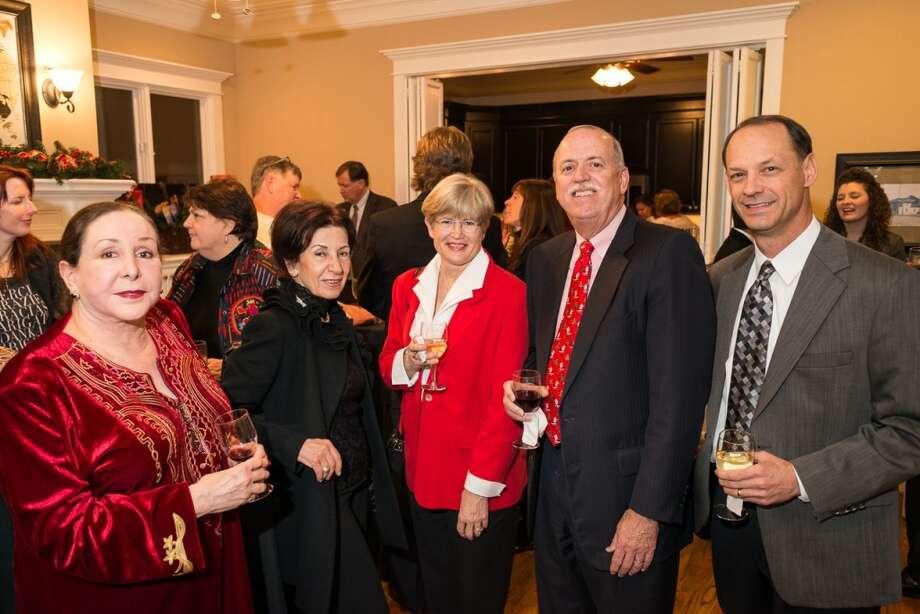 Najla Tanas, Zakana Hijazi, Jody McFudhen, Robert McFudden, Karl  Maier at the Houston District Export Council Holiday party, Dec. 12, 2013. Photo: Logan Beck, Logan Beck Photography