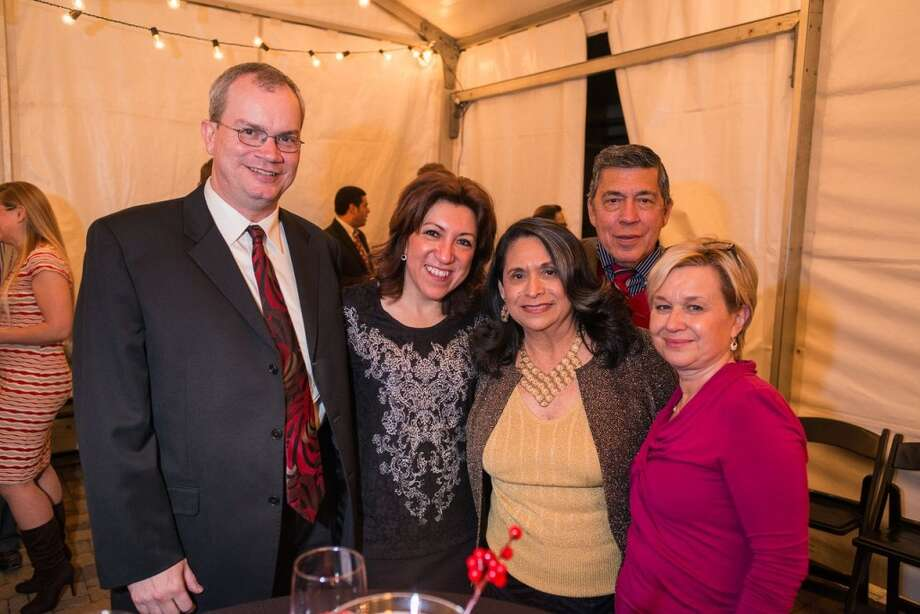 Bill Coligan, Anna Coligan, Francis Guerra, Rudy Guerra, Jeni Eldridge at the Houston District Export Council Holiday party, Dec., 12, 2013 Photo: Logan Beck, Logan Beck Photography