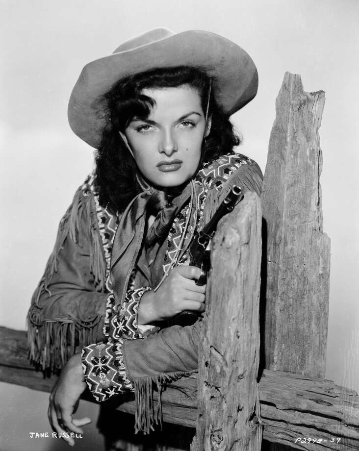American actress Jane Russell stars as Wild West sharpshooter Calamity Jane in 'The Paleface', directed by Norman Z McLeod, 1948. Photo: John Kobal Foundation, Getty Images