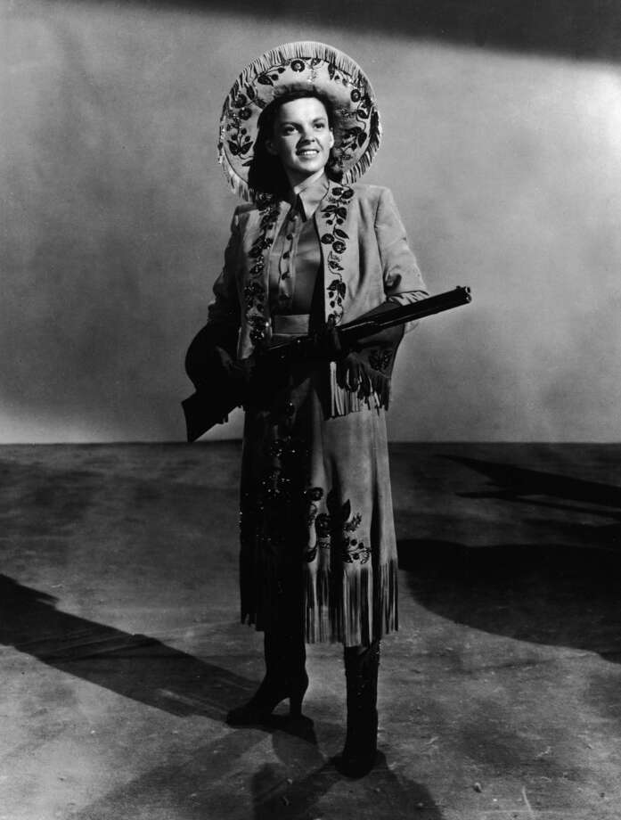 American actor and singer Judy Garland (1922-1969) poses in a 1949 wardrobe test shot for the film 'Annie Get Your Gun', directed by George Sydney and Busby Berkeley, 1950. Photo: Hulton Archive, Getty Images