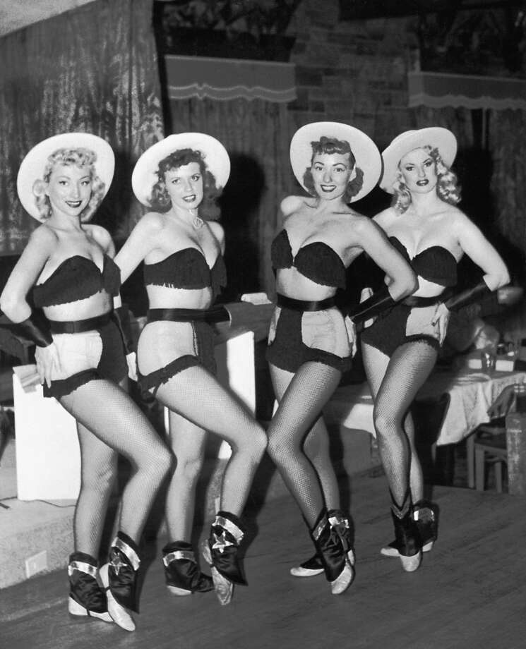 Showgirls in cowgirl outfits at the Frontier, Nevada, 1950. Photo: Underwood Archives, Getty Images