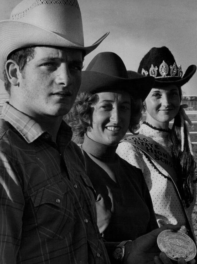 Colorado State High School Rodeo Queen Bev Konkel; Ralph Fritzlan was named all-round cowboy and Betty Rowe was all-round cowgirl in high school rodeo, 1971. Photo: John G. White, Denver Post Via Getty Images