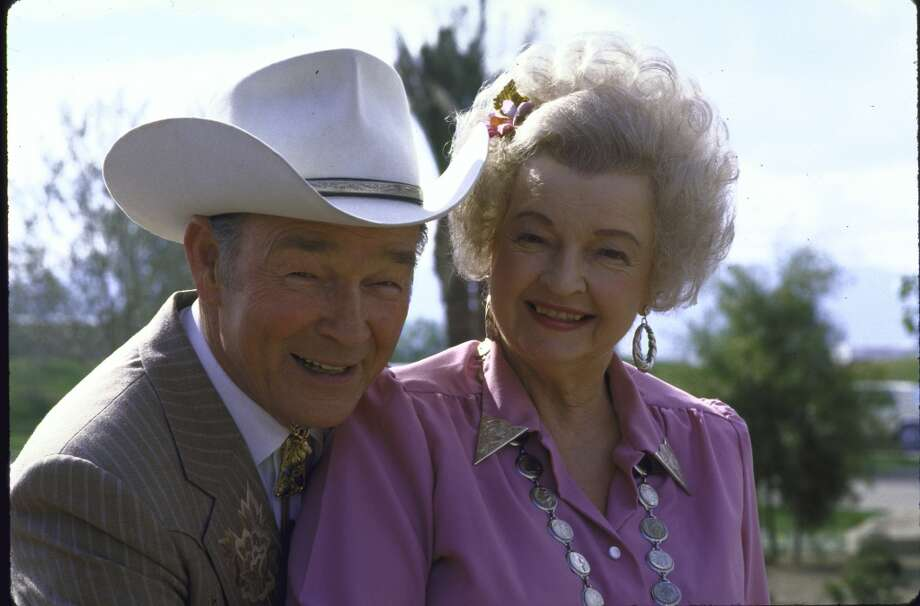 Actor Roy Rogers posing in dress cowboy outfit with his wife actress Dale Evans in her cowgirl outfit, 1986. Photo: Ben Martin, Time & Life Pictures/Getty Image