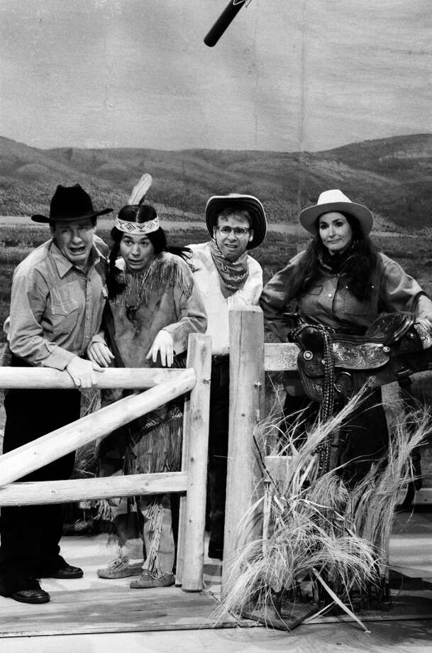 "Phil Hartman as Chet Masters, Mike Myers as Indian Boy, Rick Moranis as Jimmy, Nora Dunn as Ms. Parsons during the ""Wild Horse"" skit on October 7, 1989 on ""Saturday Night Live."" Photo: NBC, NBC Via Getty Images"