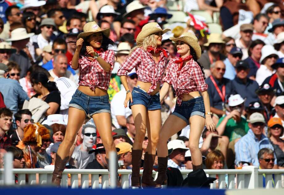 The dancing cowgirls perform during the Twenty20 Cup Semi Final between Somerset and Kent at Edgbaston on August 15, 2009 in Birmingham, England. Photo: Julian Finney, Getty Images