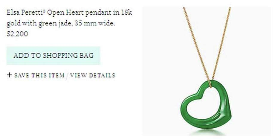 Want to make others green with envy? Just shell out a lot of green (over two grand) for  this green heart necklace from Tiffany & Co.  Spending that much on something so ugly definitely makes us green (because we're gonna be sick.)