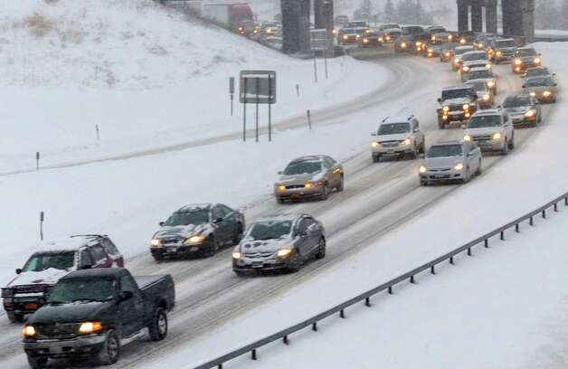 Slow going eastbound lanes of the 90 during rush hour on Tuesday Dec. 17, 2013 in Albany , N.Y. (Michael P. Farrell/Times Union) Photo: Michael P. Farrell / 00025077A