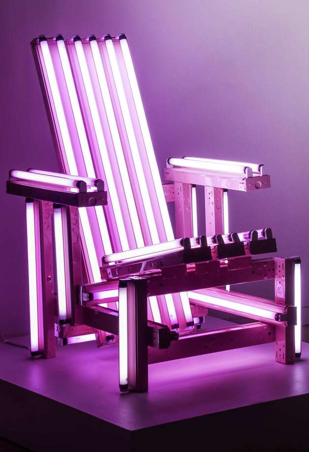 """Pink Electric Chair"" is by Chilean artist Iván Navarro. Photo: Courtesy San Antonio Museum Of Art / Photography by Peggy Tenison. Contact the San Antonio Museum of Art for Rights and Reproductions."