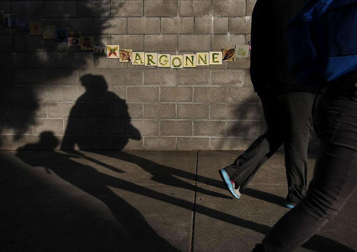 Pedestrians walk past Argonne Elementary School December 17, 2013 in San Francisco.