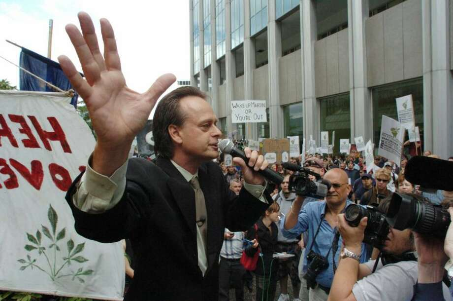 """Prince of Pot"" Marc Emery addresses a crowd of four hundred that attended an anti-extradition rally held for him in front of the U.S. Consulate on September 10, 2005 in Vancouver, B.C., Canada."