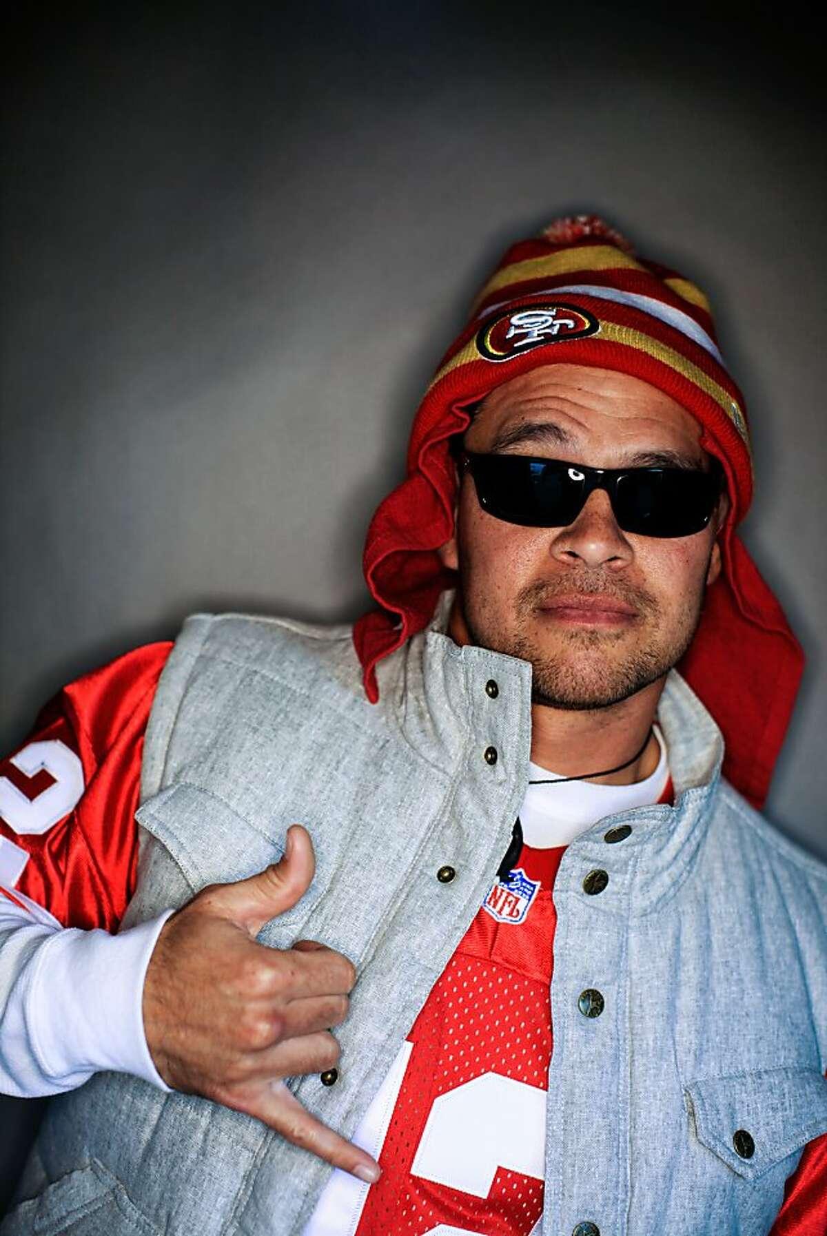 49ers fan Jeremy Johnson, 37, of Long Beach, Calif..