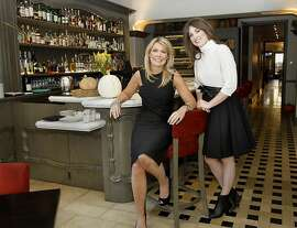 Catherine (left) and Justine Macfee in the bar area at Chalkboard restaurant. Catherine and Justine Macfee, the mother and daughter design team at the restaurant they designed, Chalkboard in Healdsburg, Calif. Wednesday October 30, 2013.
