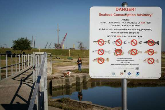 Tina Ramsay walks her pit bull, Lily, on Tuesday at River Terrace Park near a warning sign posted in Channelview, where a toxic waste Superfund site is located in the middle of the San Jacinto River.