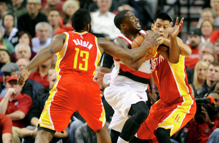 After one or the other missed nine consecutive games, the Rockets had James Harden, left, and Jeremy Lin, right, in the lineup last week at Portland and Golden State. But both are nursing injuries that put in doubt their availability for tonight's game against Chicago at Toyota Center. Photo: GREG WAHL-STEPHENS, FRE / FR29287 AP